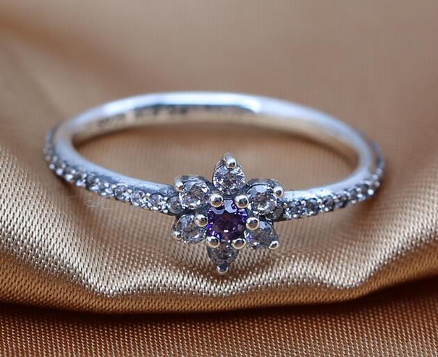 2016 Spring Release 925 Sterling Silver Forget Me Not Ring With Clear and Purple Cz  Rings Women Fine Jewelry