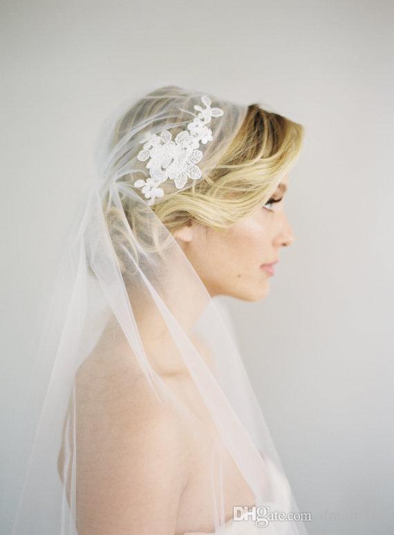 Лучшая распродажа Джульетта Cap Два слоя Waltz белая кость из слоновой кости кромки вуаль кружевной аппликации свадебные части для свадебных платьев 350