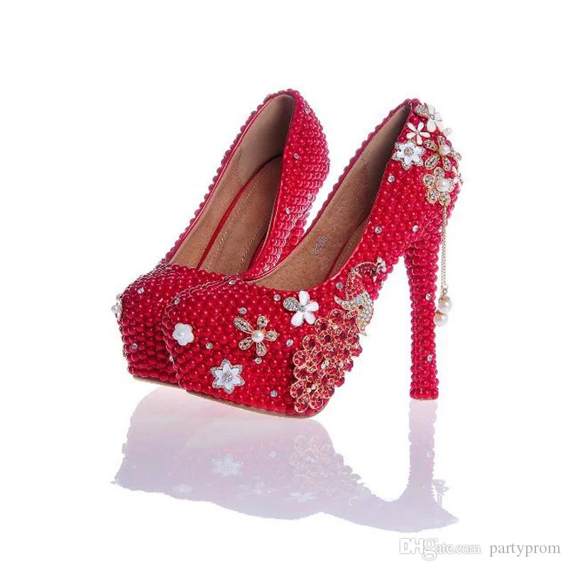 Red Pearl and Rhinestone Wedding Shoes with Phoenix Bridal Dress Shoes Tassel Pendant Platform Heels Prom Party Pumps Plus Size