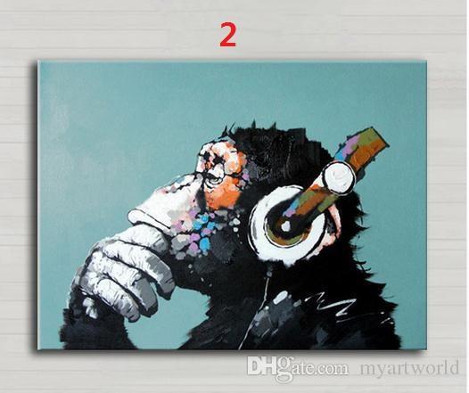 Gorila Engraçado Série Do Macaco De Pensamento, Pintados À Mão Decoração Da Parede Moderna Animal Abstrato Arte Pintura A Óleo Sobre Tela. Vários tamanhos / Opções de Moldura