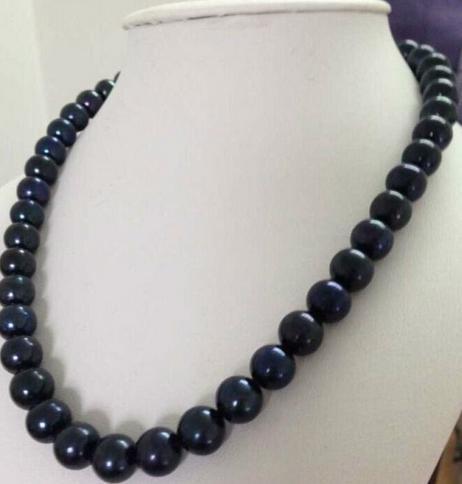 Großhandel 11-12mm natürliche tahitian runde schwarze Perlenhalskette 18inch 14K Gold Verschluss