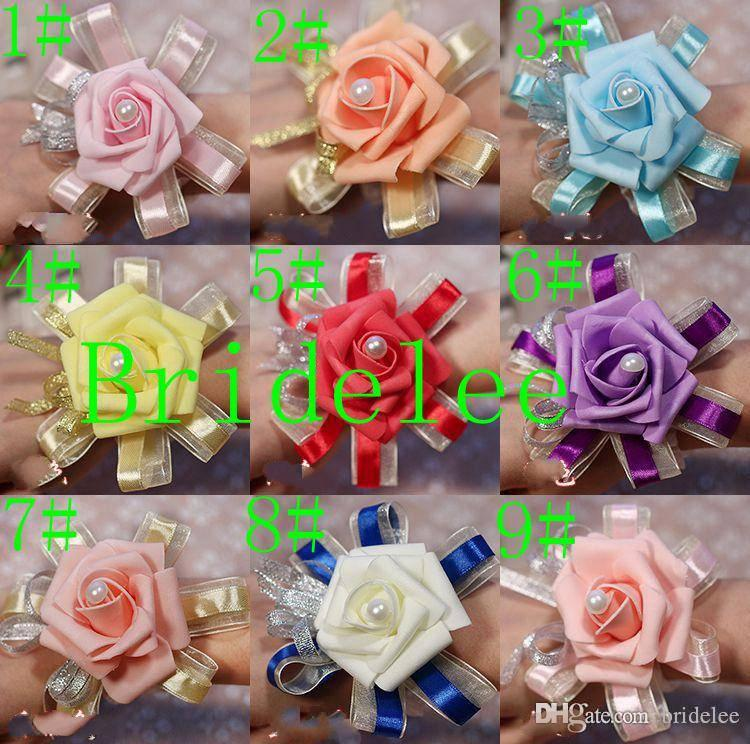 10個/ロットの新しい結婚式の花束花嫁の花の結婚式の供給必要な改善オプションの手首の花在庫9色