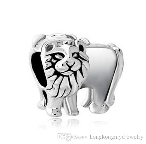 Дешевые продажа серебряный цвет покрытия Король Лев бисера природных животных жизни очарование Fit Pandora подвески браслет
