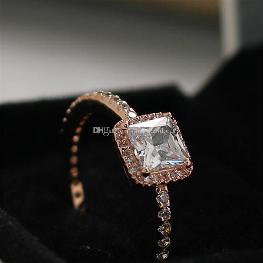 7da78743a 2016 New Autumn Silver Ring European Pandora Jewelry Rose Gold plated  Timeless Elegance Ring with Clear Cz Fashion Charm Ring
