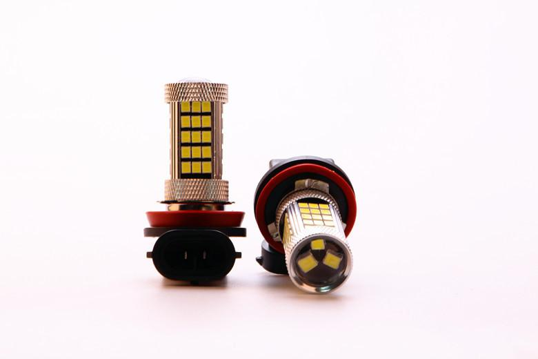 Super bright 2 Pcs/Lot H11 12V 30W 63SMD New Auto White Light Bulbs 6000K 2845 LED Projector LEN Fog Lamp Driving Light