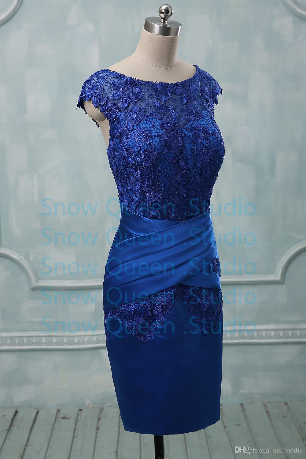 Real Photos Vintage Royal Blue Evening Dresses With Lace Zipper Back ...