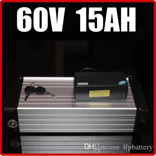 """Bateria de lítio elétrica da bicicleta de 60V 15AH, 67,2 bateria traseira do """"trotinette"""" da E-bicicleta da liga de alumínio da cremalheira"""