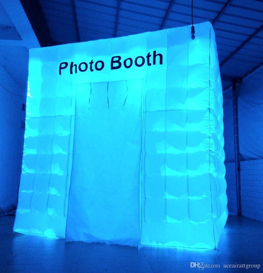 Frete grátis venda quente excelente iluminação inflável photo booth inflagtable weding cabine com ventilador de ar livre