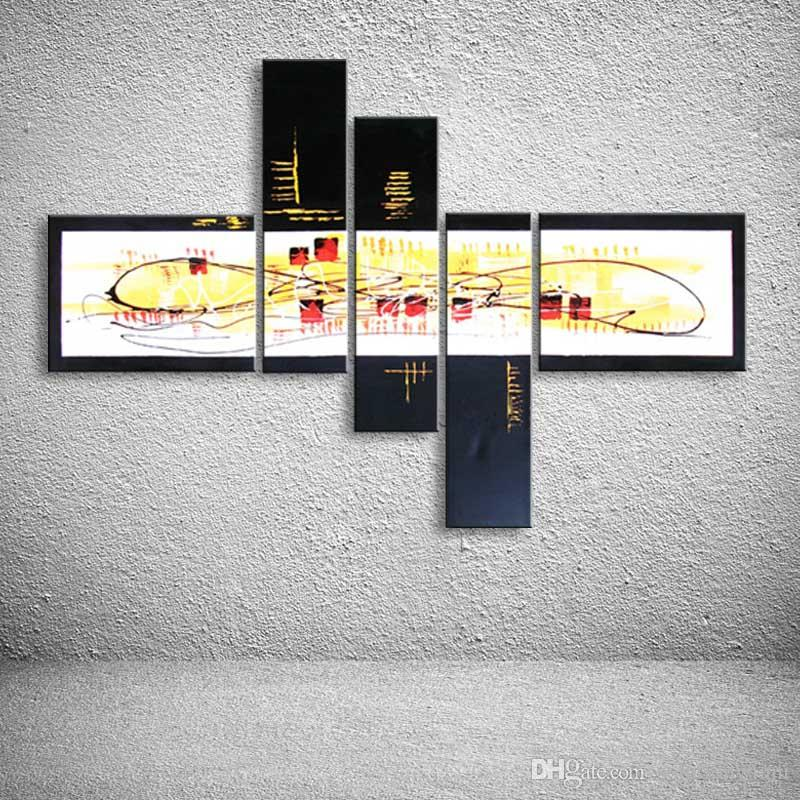 Line Graffiti Acrylic Paintings Canvas Wall Art Handpainted Abstract Landscape Oil Painting Modern Home Decor 5 Panel Pictures