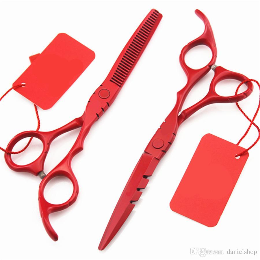 Professional 6 & 5.5 Inch 440c Hair Scissors Set Thinning Barber Cutting Hair Shears Scissor Tools Hairdressing Scissors