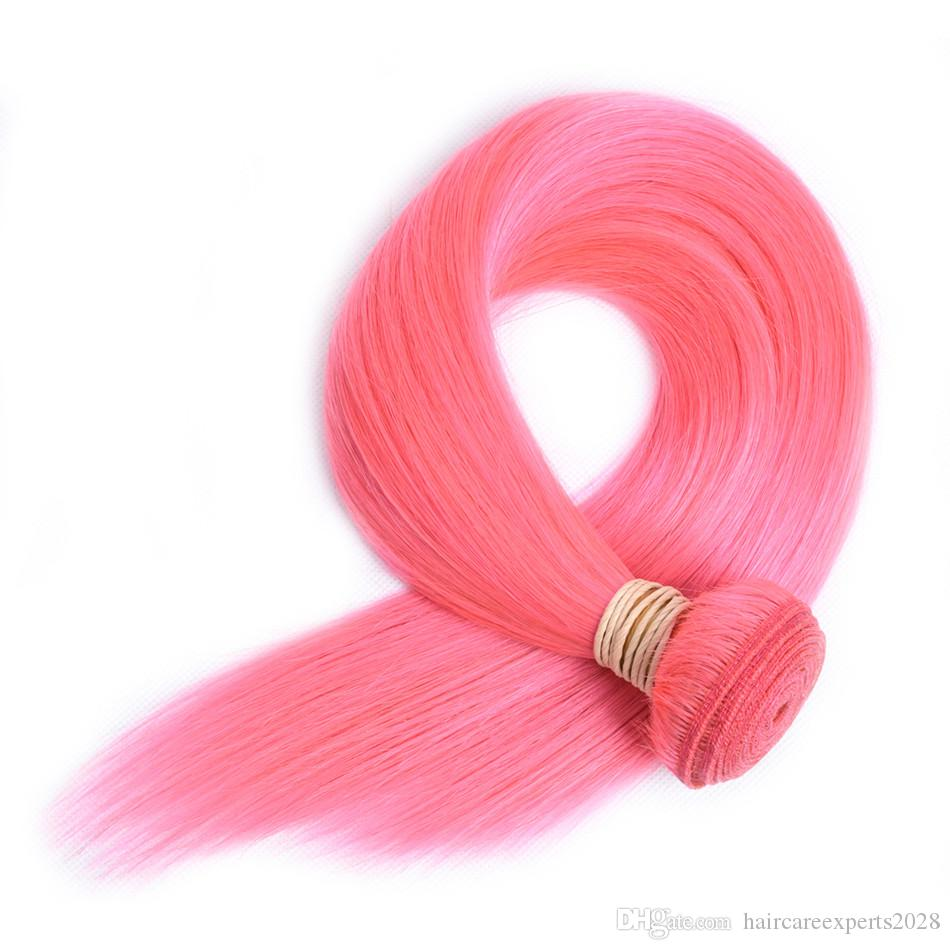 ELIBESS HAIR- Pre-Colored Human Hair Weave Straight 60g Per Piece Pink Color 3 Pics Remy Hair Bundles 10-24inch