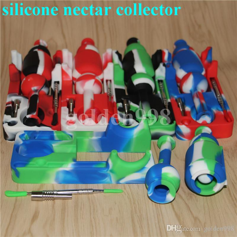Free Shipping Silicone Nectar Collector kit with 10mm joint Ti Nail nector collector oil rigs Micro NC Glass skull water Pipes