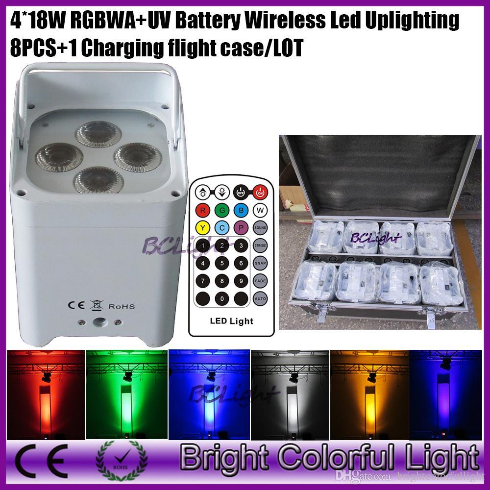8pcs+1 fly case/lot Colorful portable led mini event decor uplight 4*18w RGBWAP IRC led battery wireless dmx led stage light