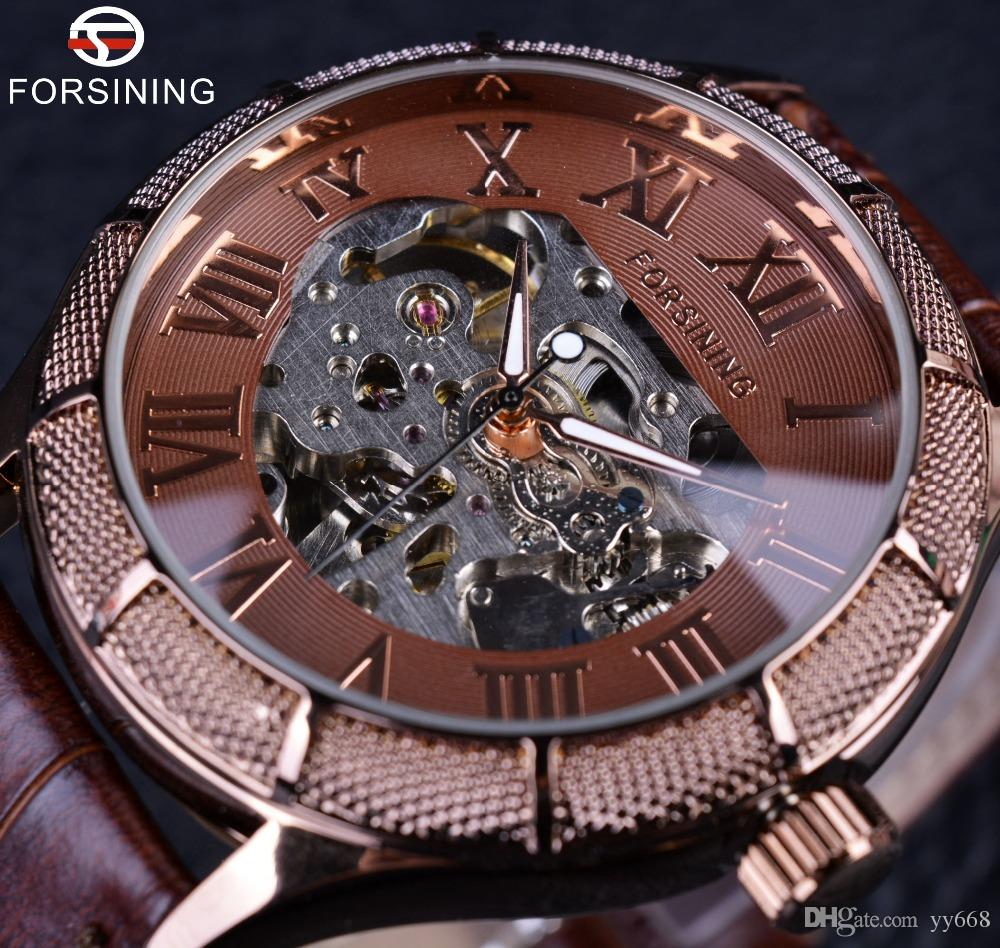 Forsining Skeleton Watch Transparent Roman Number Watches Men Luxury Top Brand Mechanical Men Big Face Watch Steampunk Wristwatches