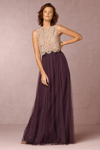 2016 Long Burgundy Bridesmaid Dresses Lace Top And Tulle