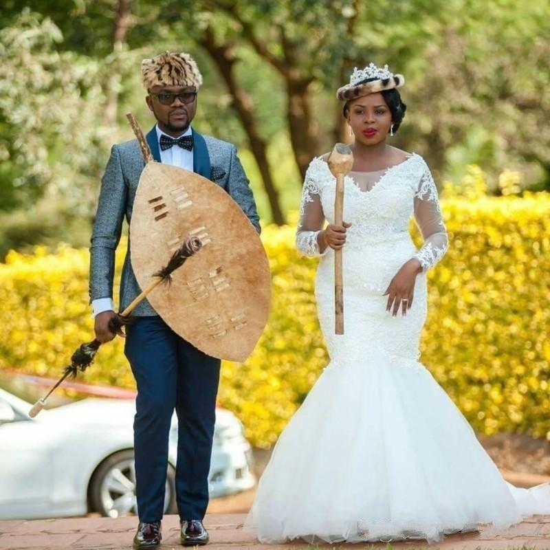 Vintage Lace Plus Size Mermaid Wedding Dresses Sheer Long Sleeves South African Bridal Gowns Tulle Sweep Train Wedding Vestidos Custom Made
