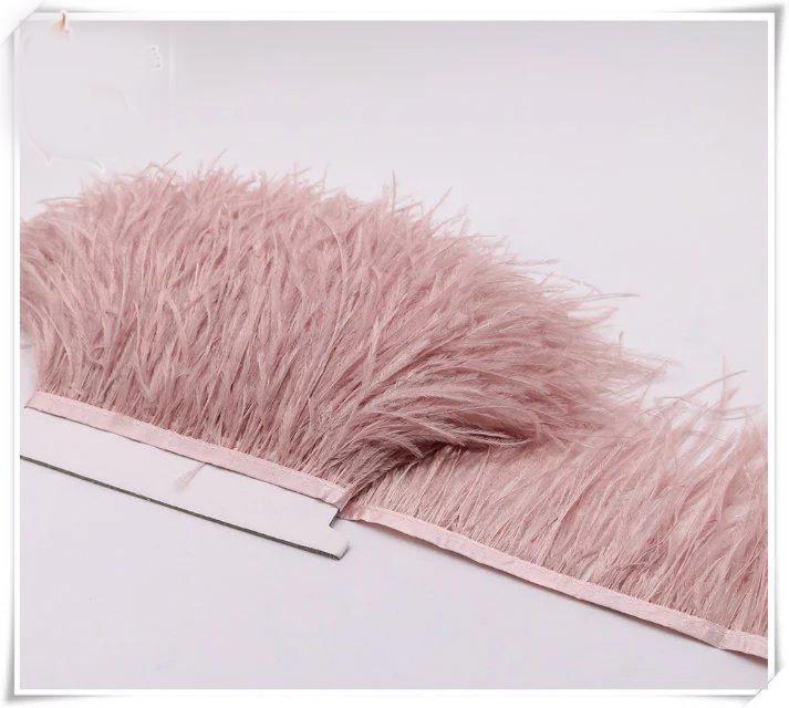 10yards / lot atacado poeira rosa 5-6 polegada de pena de avestruz largura corte franja para costura vestido de artesanato skrit oferta