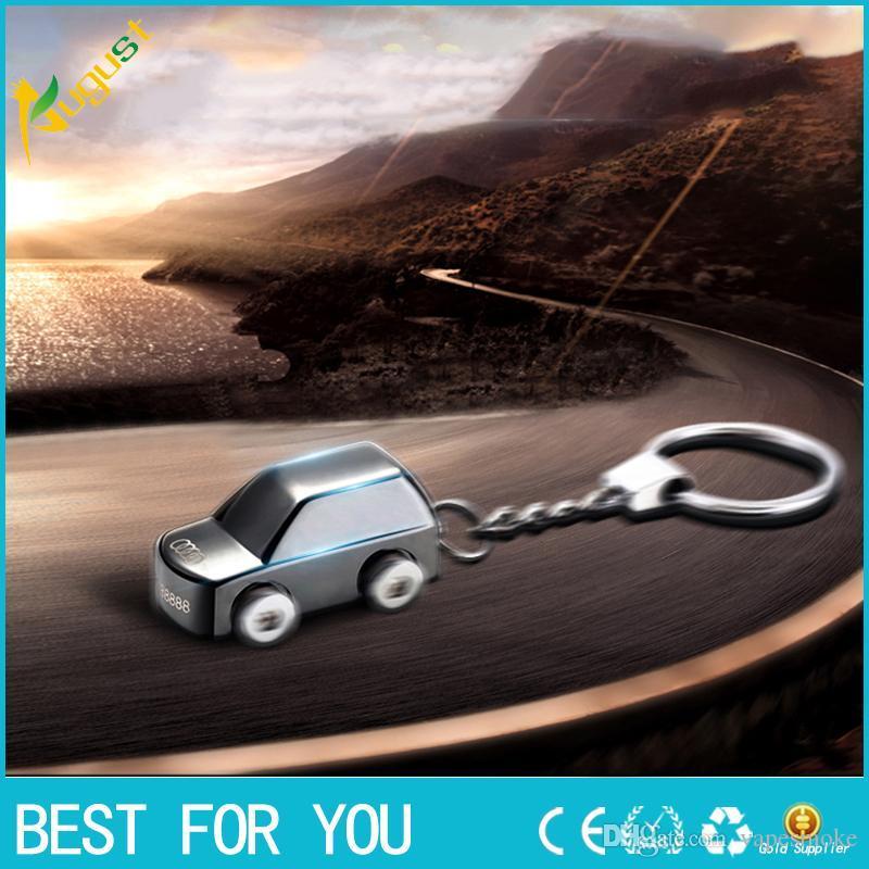 Personalidade criativo pequeno estilo de carro de metal à prova de vento mais leve USB isqueiro recarregável chaveiro isqueiro
