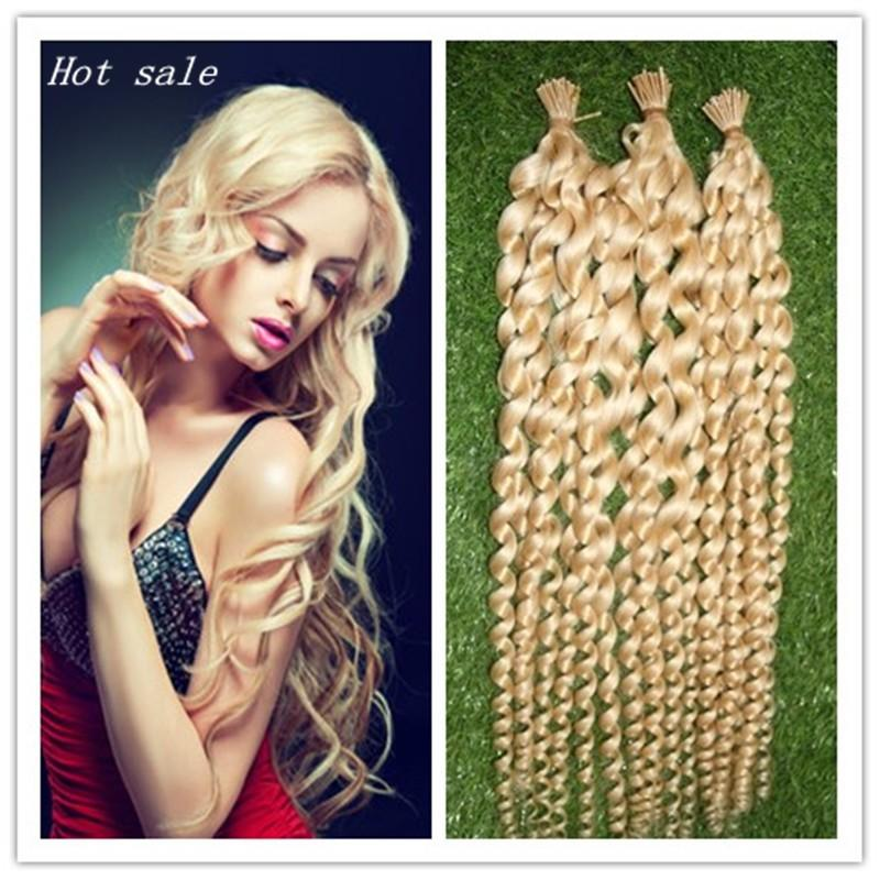 Pre Bonded Thick I-TIP Human Hair Extensions 100s/bag Bleach Blonde Brazilian Hair Hot Selling Capsule Keratin Fusion Loose Wave