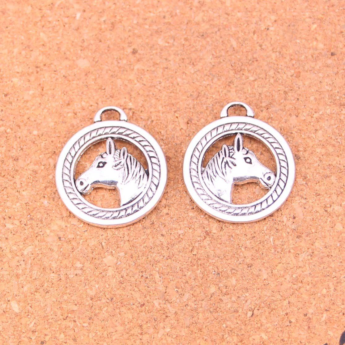 35pcs Antique silver Charms horse head Pendant Fit Bracelets Necklace DIY Metal Jewelry Making 25mm