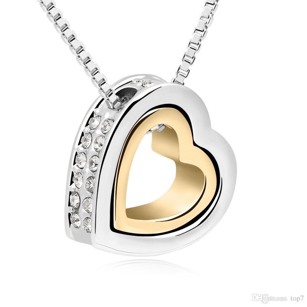 Hohe Qualität Doppel Herz Halsketten Anhänger mit Swarovski Elements Crystals von Swarovski Geschenke zum Valentinstag gemacht