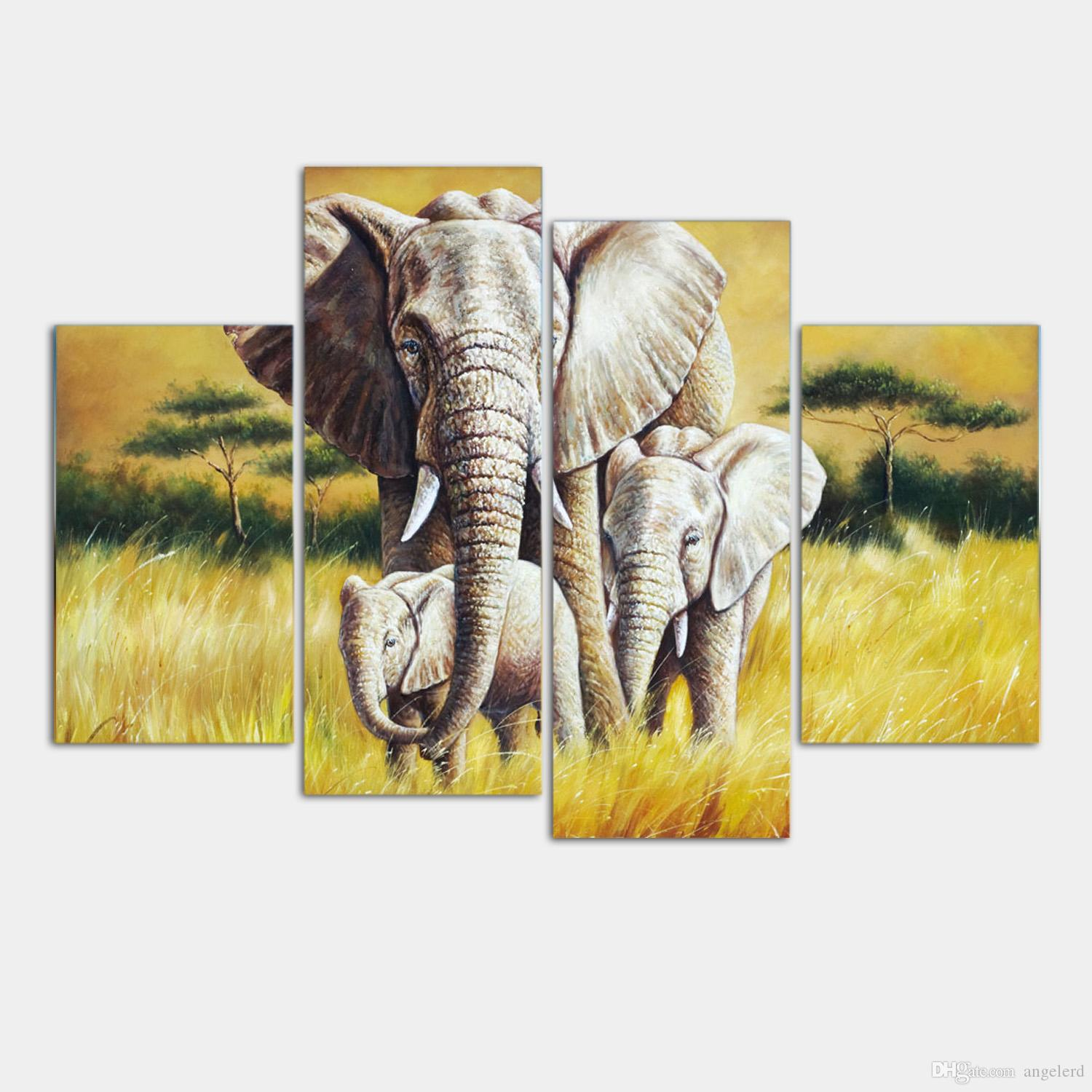 4 Ppcs Elephant Painting Canvas Wall Art Picture Home Decoration ...