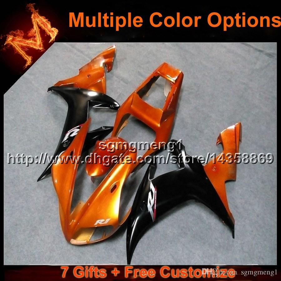 23colors+8Gifts ORANGE YZF R1 02 03 motorcycle cowl Fairing For Yamaha YZF1000 2003 YZF-R1 2002 YZFR1 2002 2003 ABS motor panels kit