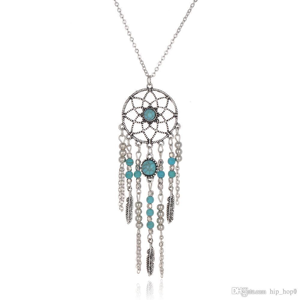 Long Dreamcatcher Silver Pendant Turquoise Necklace Dreamcatcher with Tassels
