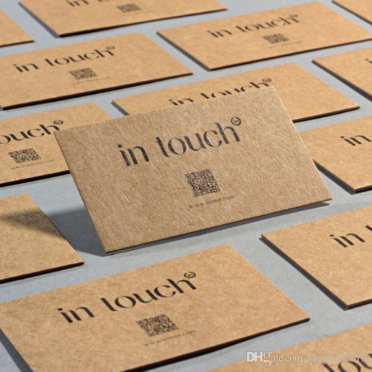 2018 Free Design Custom Business Cards Kraft Paper With Single Color ...