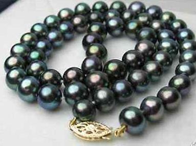 Wunderschöne 10-11mm Tahitian Peacock Green Pearl Halskette 18-Zoll-Perlenketten 14K Gold Verschluss