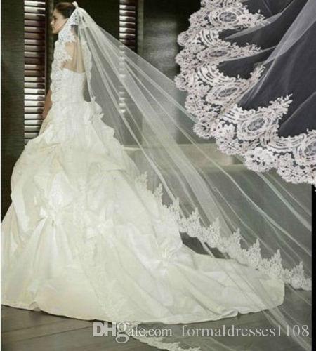 Новый 1 слой белый / слоновая кость 1т кружева края фата собор длинные свадебные свадебные свадебные фата свадебные аксессуары