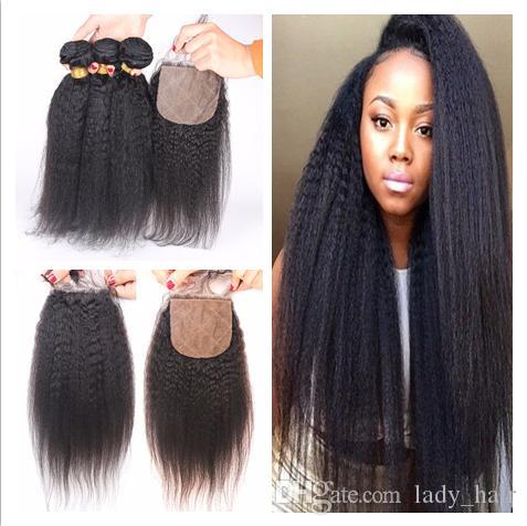Malaysian verworrene gerades Haar-FEFTS mit 4x4-Seidenbasis-Verschluss 4pcs Lot-italienisches grobes Yaki-Seide-Top-Schließung mit reinem Haar-Webart-Bündel