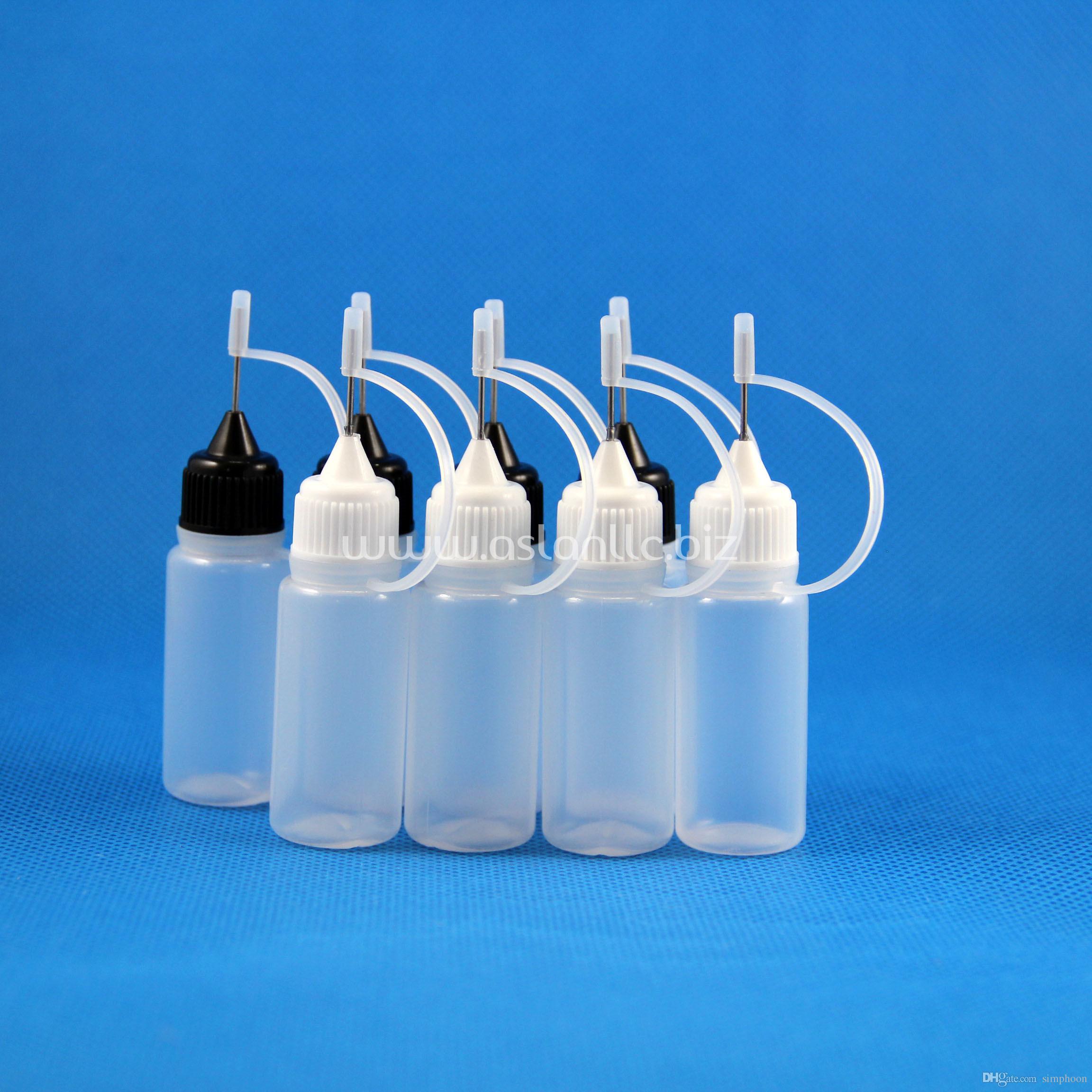 100 Set / Lotto 10ml Bottiglie di plastica con contagocce in metallo Capsule in metallo Punte di sicurezza in LDPE Liquido E Vape Succo di Vape OLIO 10 ml
