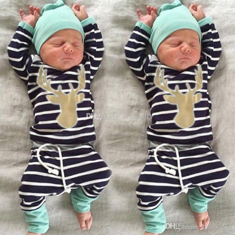 3PCS Christmas Newborn Deer Clothing Sets Baby Boys Girls Striped Cotton Clothes Sets Long sleeveT Shirt+Hat+Pants Kids Cartoon Outfit Suit