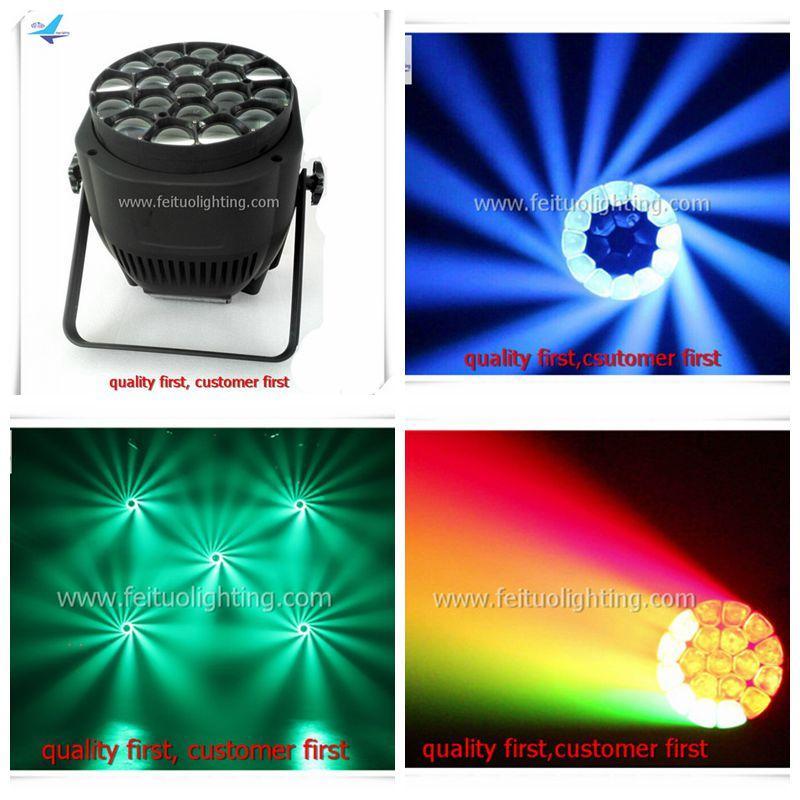 8xlot DMX Beam 4in1 RGBW 19x15w Bee Eye Par Can Zoom Luce 100% vendita diretta in fabbrica Dot Controlled Wash LED