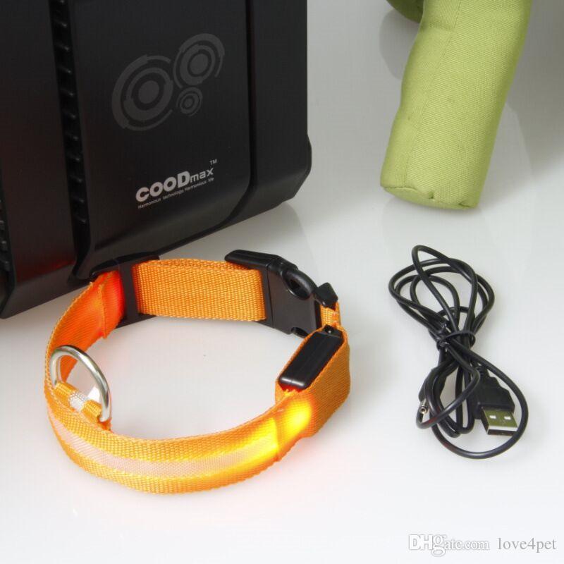 E04 USB ricarica collari per cani Pet collare in nylon luminoso collare luminoso LED flash collari trasporto libero
