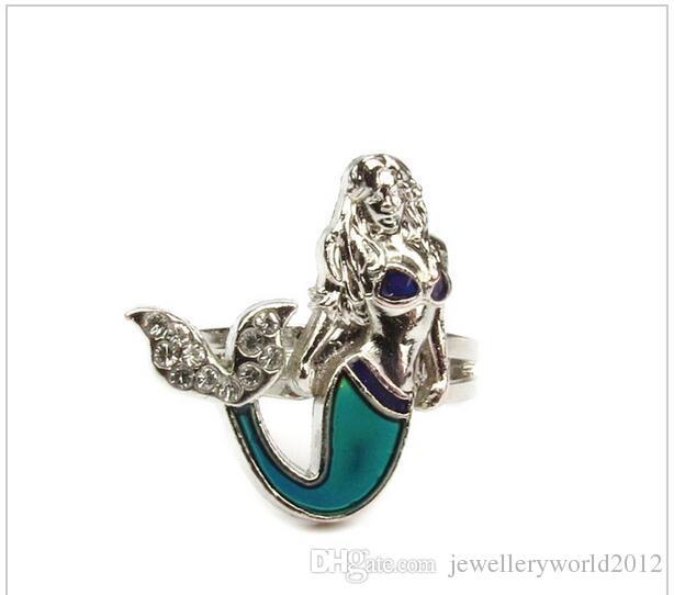 البحر الكاريبي mermaid المزاج عصابة الأزياء تشيكوسلوفاكيا الماس خمر المزاج العاطفة اللون المزاج الدائري 100 قطعة / الوحدة