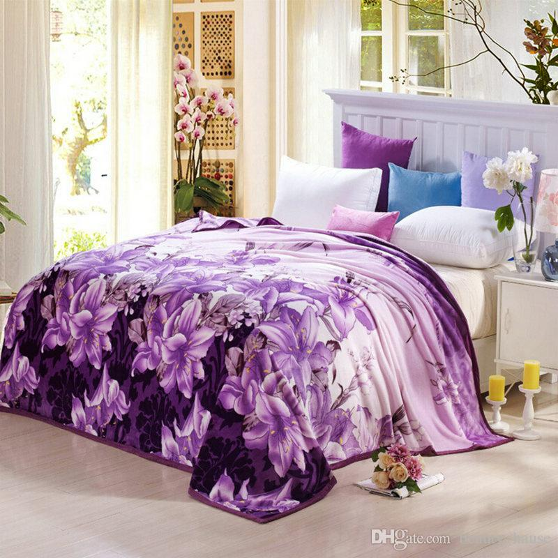 Vintage Purple Lily Soft / air / épaississement couverture cadeau jette sur lit / canapé / avion voyage toiles de molleton de mariage cadeau de textile à la maison
