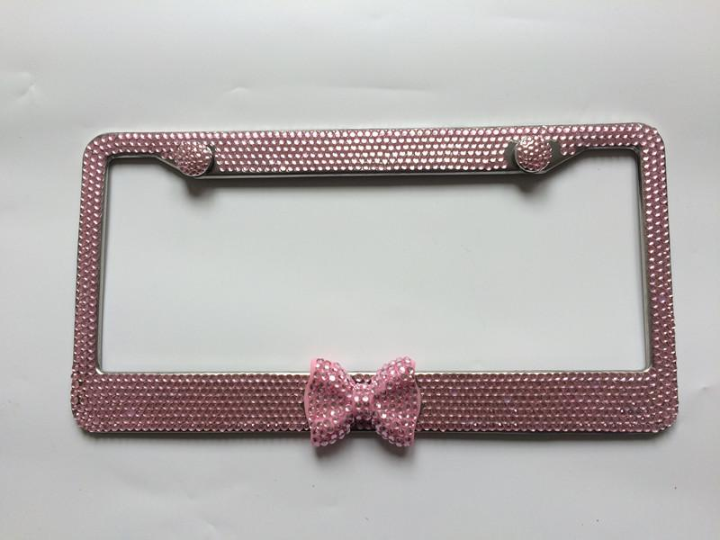 the bling license plate frame is fully handmade and the rhinestone is glued grain after grains by hand