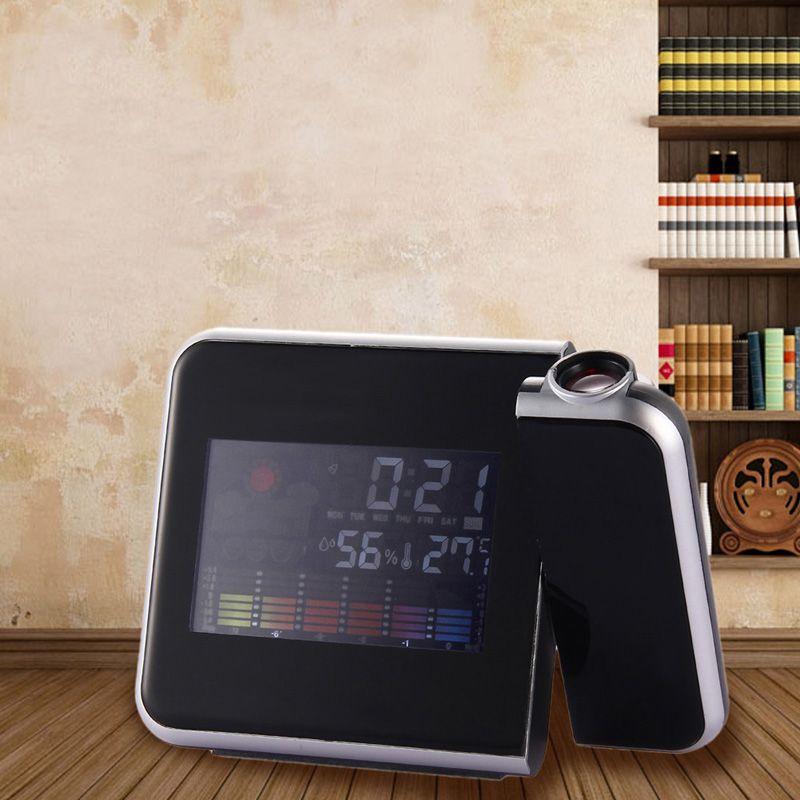 LCD Digital LED Projector Projection Alarm Clock Weather Station Calendar Reveil Projection reloj despertador horloge E5M1 order<$18no track