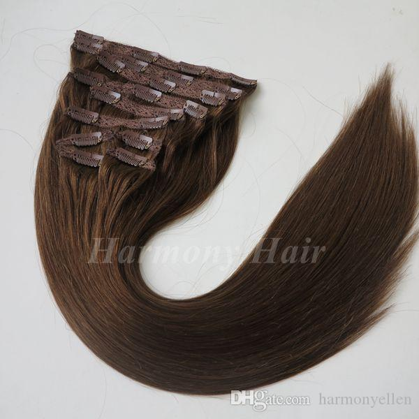 120 г 100% бразильский зажим для наращивания волос клип в прямые волосы полный набор волос № 6 цвет
