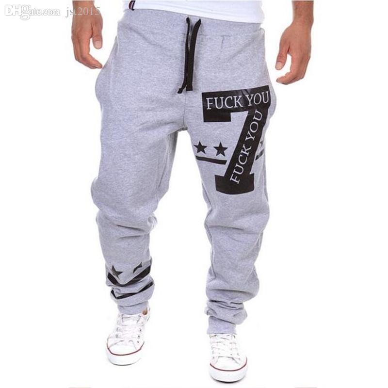 Gros-Vente Chaude Casual Mens Lettre Impression Baggy Harem Cool Long Loose Pantalons Jogger Sport wear Pantalon Taille M-3XL