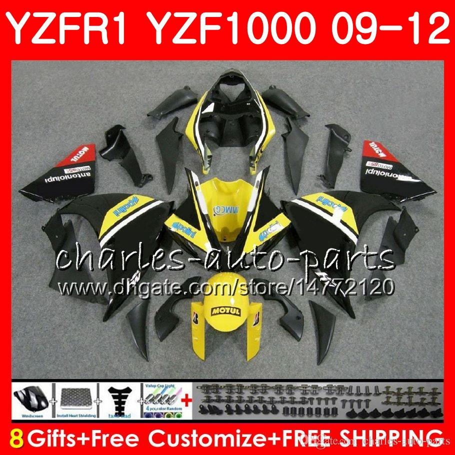 Corpo para YAMAHA YZF gloss preto 1000 R 1 YZFR1 09 10 11 12 Carroçaria 85NO46 YZF1000 YZF R1 2009 2010 2011 2012 YZF-1000 YZF-R1 09 12 Carenagem