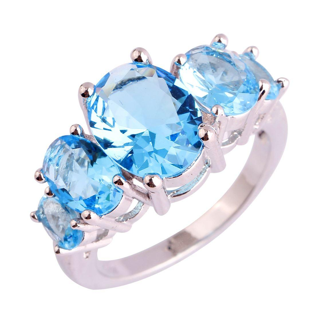 Lab Lab Art Deco Blue Topaz Gems 18K White Gold Plated Silver Ring Size 6 7 8 9 10 11 12 13 Free Shipping Wholesale Party