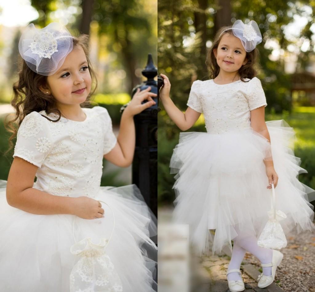 US Seller Ivory Off White Ruffled Skirt Short Sleeves Wedding Flower Girl Dress