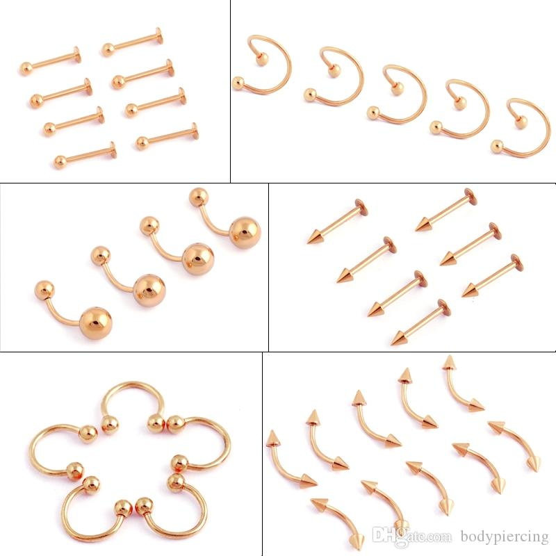 50pcs gold Titanium Stainless Steel Eyebrow Nose Lip Captive Bead Ring Tongue Piercing Tragus Cartilage Earring Body Jewelry