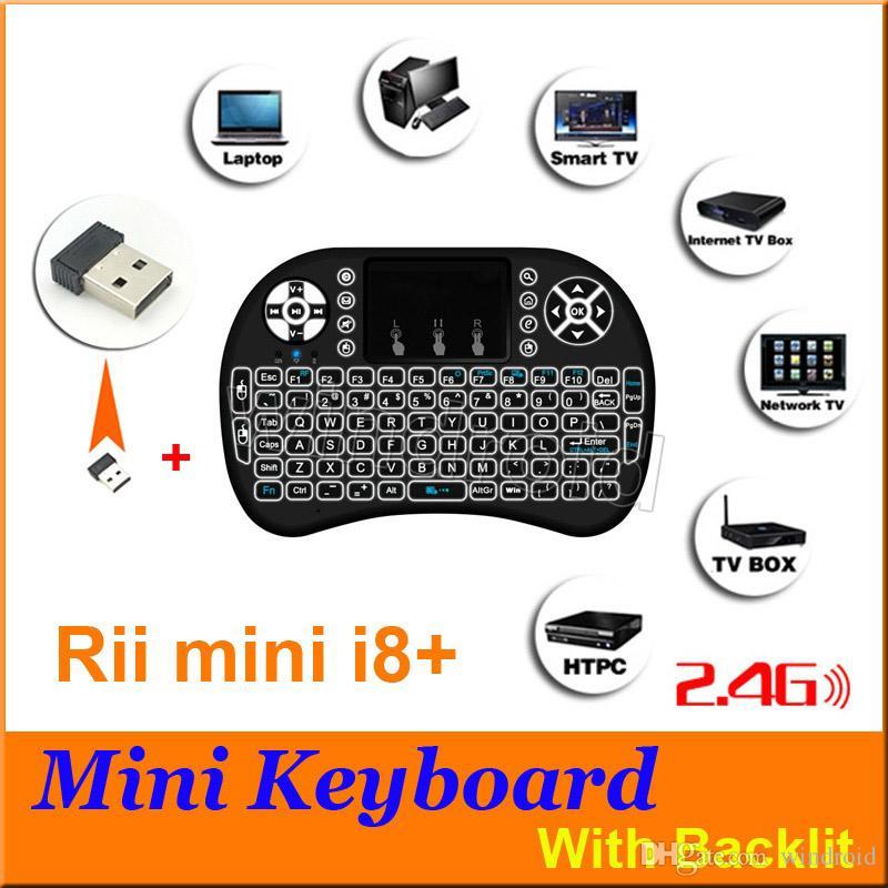 Rii i8 زائد i8 + الذكية يطير الهواء الفأر الخلفية لوحة المفاتيح اللاسلكية بلوتوث التحكم عن لوحة اللمس لالروبوت صندوق mx3 m8s 3 لون الصمام