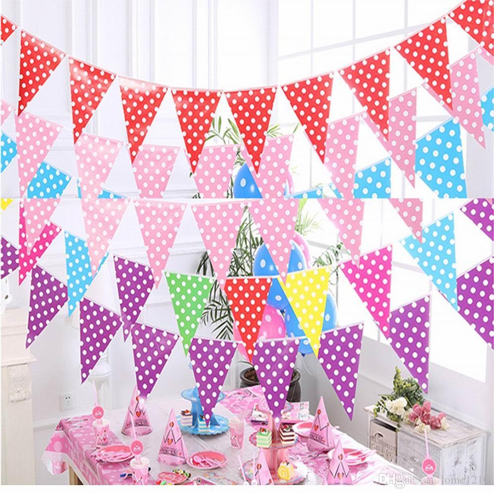 Banner Flag Puntino per matrimoni appendere Gagliardetti Disegnato Banner per feste di nozze Decorazioni per feste di compleanno per bambini Fornisce bandiere