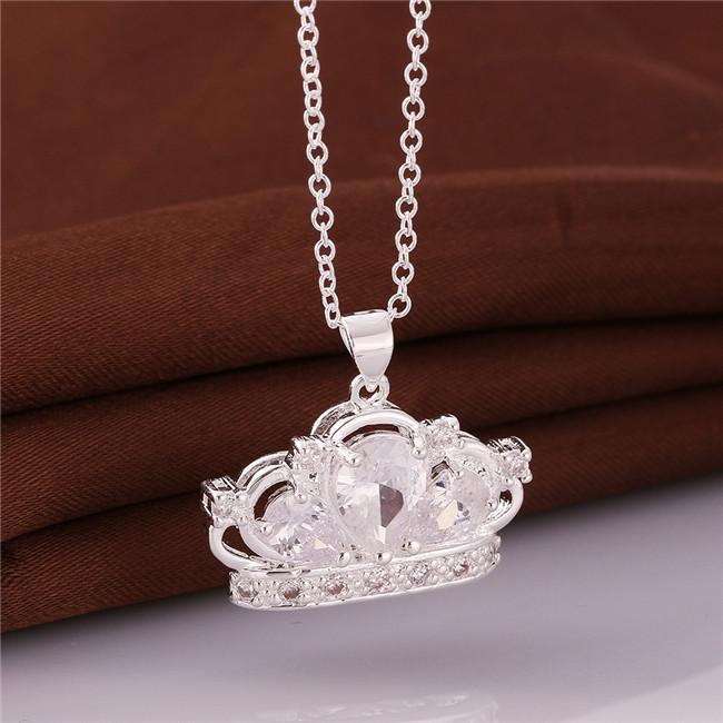 Nouvelle arrivée lmperial collier pendentif couronne argent blanc sterling pierres précieuses collier plaqué STSN579, mode 925 usine collier