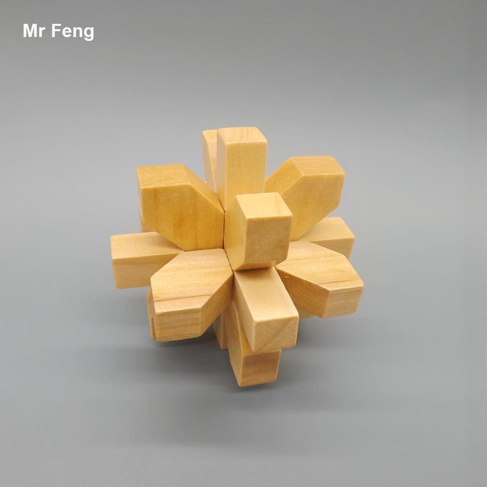 Engraçado Lu Ban Bloqueio Flor Puzzle Brinquedos De Madeira Mind Game